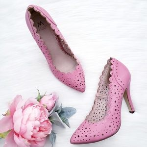 Madison by Shoedazzle Tamber Pink Perforated Pumps